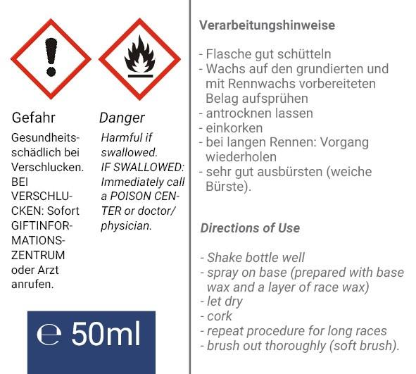 Rückseitenetikett mit Warnsymbolen
