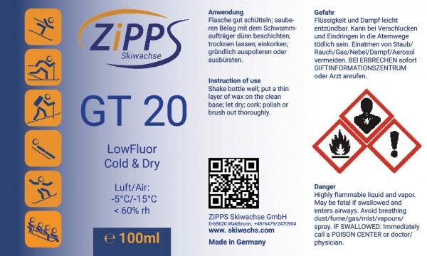 GT 20 ganzes Etikett mit Warnsymbolen