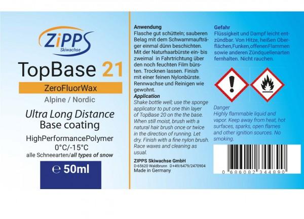 Etikett TopBase 21 ZeroFluor, Titel und Rückseite mit Gefahrsymbolen