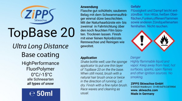 Etikett TopBase 20 mit Warnsymbolen